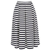 Buy Oasis Textured Stripe Midi Skirt, Navy Online at johnlewis.com