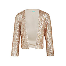 Buy John Lewis Girls' Sequin Jacket, Frosted Almond/Gold Online at johnlewis.com