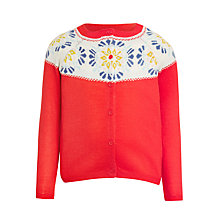 Buy John Lewis Girls' Fair Isle Cardigan, Poinsetta Online at johnlewis.com