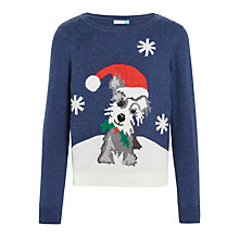 Buy John Lewis Girls' Dog Christmas Jumper, Blue Online at johnlewis.com