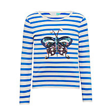 Buy John Lewis Girls' Butterfly Stripe T-Shirt, Bright Blue Online at johnlewis.com