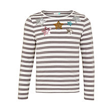Buy John Lewis Girls' Sequin Star Striped T-Shirt, Charcoal/White Online at johnlewis.com