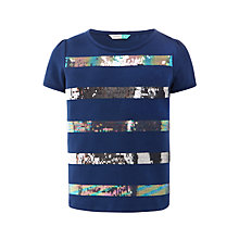 Buy John Lewis Girls' Sequin Stripe T-Shirt, Insignia Blue Online at johnlewis.com