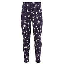 Buy John Lewis Girls' Floral Leggings, Washed Black Online at johnlewis.com