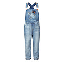 Buy John Lewis Girls' Stitch Detail Denim Dungarees, Blue Online at johnlewis.com