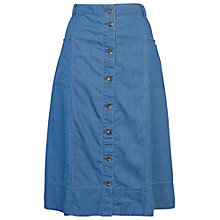 Buy Fat Face Laura Midi Skirt, Chambray Online at johnlewis.com