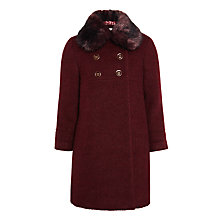 Buy John Lewis Heirloom Collection Girls' Faux Fur Collar Coat, Berry Red Online at johnlewis.com