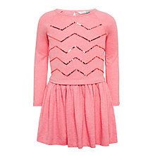 Buy John Lewis Girls' Sequin Chevron Dress, Pink Online at johnlewis.com