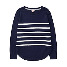 Buy Jigsaw Girls' Cotton Stripe Jumper, Navy Online at johnlewis.com