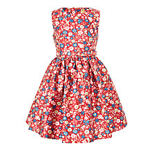Buy John Lewis Heirloom Collection Girls' Floral Printed Foil Dress, Red Online at johnlewis.com