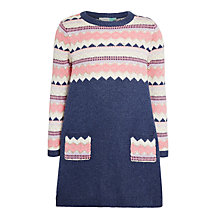 Buy John Lewis Girls' Knitted Chevron Dress, Blue Online at johnlewis.com