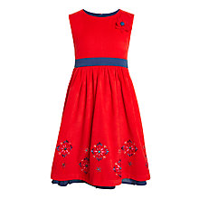 Buy John Lewis Girls' Flower Cord Dress, Red Online at johnlewis.com