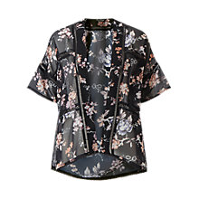 Buy Miss Selfridge Petites Floral Kimono, Black Online at johnlewis.com