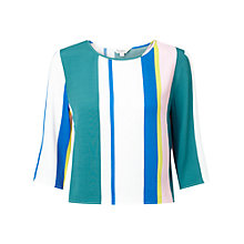 Buy Miss Selfridge Stripe Wrap Back T-shirt, Multi Online at johnlewis.com