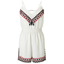 Buy Miss Selfridge Petites Tribal Playsuit, White Online at johnlewis.com