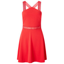 Buy Miss Selfridge Petites Crochet Skater Dress, Coral Online at johnlewis.com