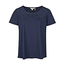 Buy Fat Face Pendower Broderie T-Shirt, Navy Online at johnlewis.com
