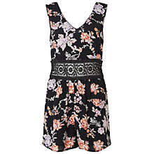 Buy Miss Selfridge Petites Crochet Playsuit, Black Online at johnlewis.com