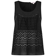 Buy Miss Selfridge Petites Cutwork Top, Black Online at johnlewis.com