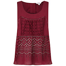 Buy Miss Selfridge Petites Cutwork Top, Burgundy Online at johnlewis.com