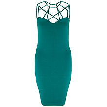 Buy Miss Selfridge Caged Neck Dress, Green Online at johnlewis.com