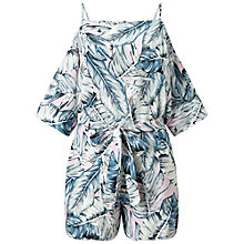 Buy Miss Selfridge Palm Print Playsuit, Multi Online at johnlewis.com