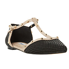 Buy Dune Heti Two Part Studded Pumps, Black Reptile Online at johnlewis.com