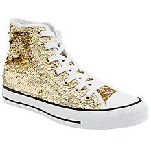 Buy Converse Chuck Taylor All Star Glitter Hi Top Trainers, Gold Glitter Online at johnlewis.com