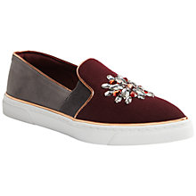 Buy Ted Baker Gheyn Round Toe Slip On Trainers, Burgundy/Grey Online at johnlewis.com