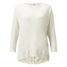 Buy Jigsaw Button Back Drop Hem Sweater, Ivory Online at johnlewis.com