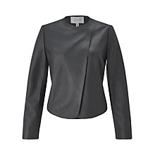 Buy Jigsaw Short Leather Jacket, Graphite Online at johnlewis.com