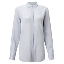 Buy Jigsaw Stripe Voile Shirt, Pale Blue Online at johnlewis.com