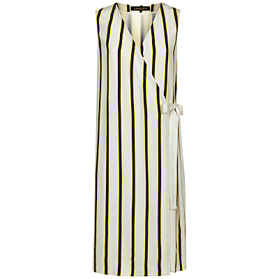 Jaeger Bi-Colour Stripe Dress, Multi/Camel