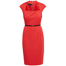 Buy Ted Baker Square Neck Belted Dress, Red Online at johnlewis.com