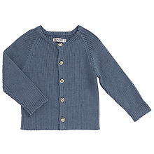 Buy Wheat Baby Knitted Ribbed Cardigan, Blue Online at johnlewis.com