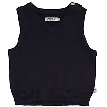 Buy Wheat Baby Knitted V-Neck Vest, , Navy Online at johnlewis.com