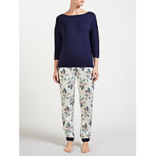 Buy John Lewis Leila Print Jersey Pyjama Set, Navy/Multi Online at johnlewis.com