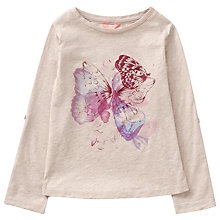 Buy Jigsaw Girls' Butterfly Placement T-Shirt, Oatmeal/Lilac Online at johnlewis.com