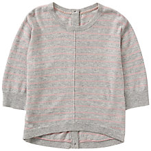 Buy Jigsaw Girls' Striped Button Back Jumper, Grey Online at johnlewis.com