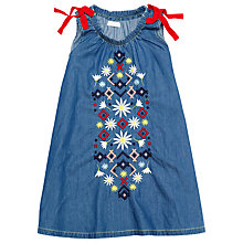 Buy Margherita Kids Girls' Embroidered Chambray Dress, Blue Online at johnlewis.com