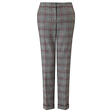 Buy Gerry Weber Turn-Up Check Trousers, Grey/Burgundy Online at johnlewis.com