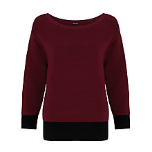Buy Gerry Weber 3/4 Sleeve Ribbed Jumper, Marsala/Black Online at johnlewis.com
