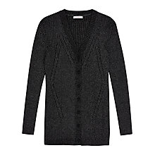 Buy Finery Goldhawk Ribbed Cardigan, Black/Silver Online at johnlewis.com