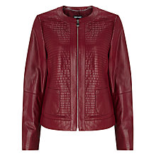 Buy Gerry Weber Textured Leather Jacket, Marsala Online at johnlewis.com