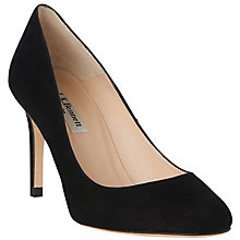 Buy L.K. Bennett Sasha Round Toe Court Shoes, Black Suede Online at johnlewis.com