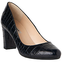 Buy L.K. Bennett Sersha Block Heeled Court Shoes, Navy Croc Effect Leather Online at johnlewis.com