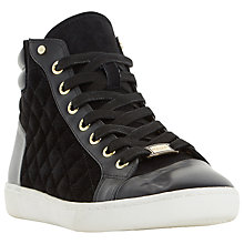 Buy Dune Entourage Quilted High Top Trainers, Black Online at johnlewis.com