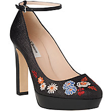 Buy L.K. Bennett Sunset Raffia Block Heeled Platform Court Shoes, Black Online at johnlewis.com