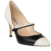 Buy L.K. Bennett Laylah Pointed Toe Strap Court Shoes, Ivory/Black Online at johnlewis.com