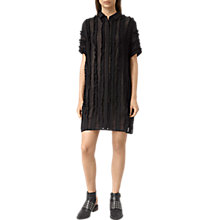 Buy AllSaints Emrys Ruffle Shirt Dress, Black Online at johnlewis.com